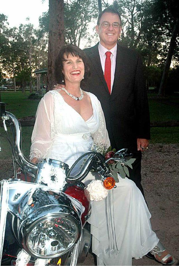 Pamela Boal and David Hedger celebrate their wedding last month.