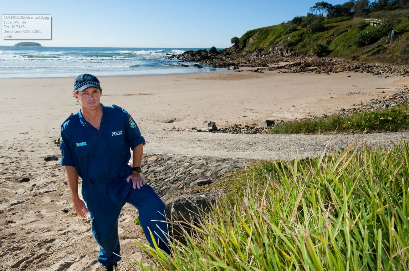 SHARK CONCERNS: Senior Constable Chris Picker of Coffs Harbour Water Police says discarded fish frames have lured sharks to shore at Emerald Beach.