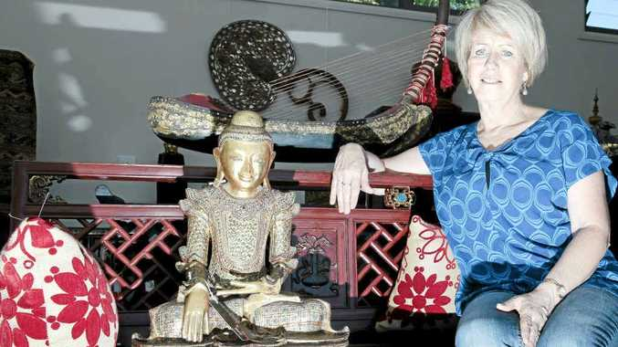 Vicky Mann, owner of Bijou Fine Art in Federal, has a passion for Burma, its people and the lacquer ware and teak furniture made there.