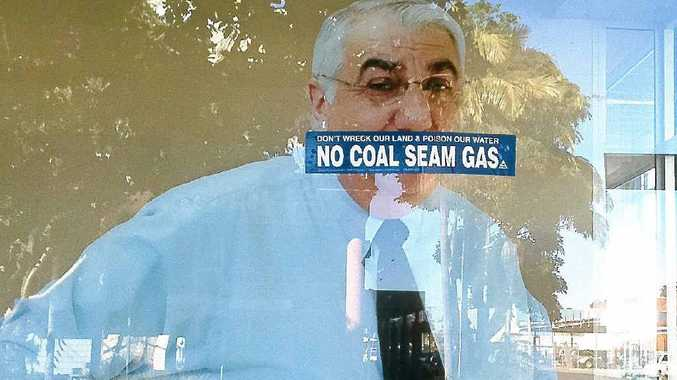 CHEEKY: Anti-CSG protesters took advantage of a cardboard cut-out of Lismore MP Thomas George in his Lismore office at the weekend.