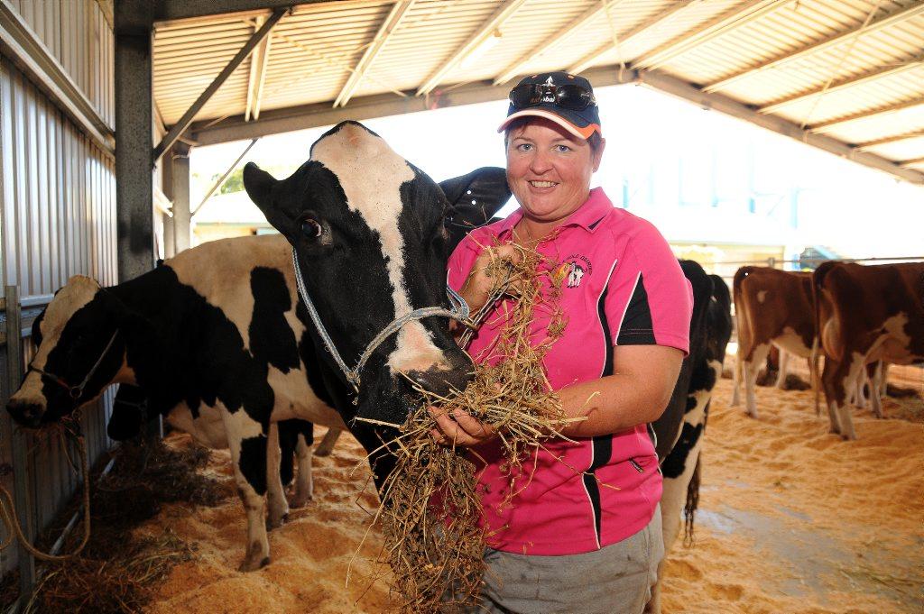Leesa Ison feeding her cow Fairy.