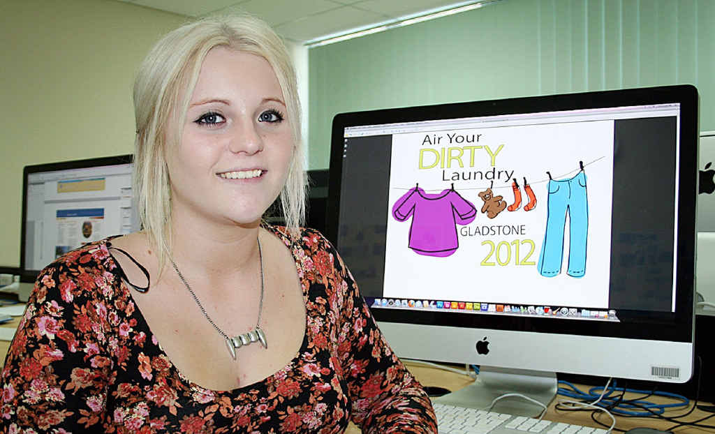 """Yeppoon's Mikaela Ritcher, 17, was one of several students in the Certificate IV in Graphic Design class at Rockhampton campus asked to come up with a logo for the """"Air Your Dirty Laundry"""" campaign."""