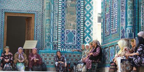 Pilgrims at Shahr-i-Zindah or the Tomb of the Living King, in Samarkand, Uzbekistan.
