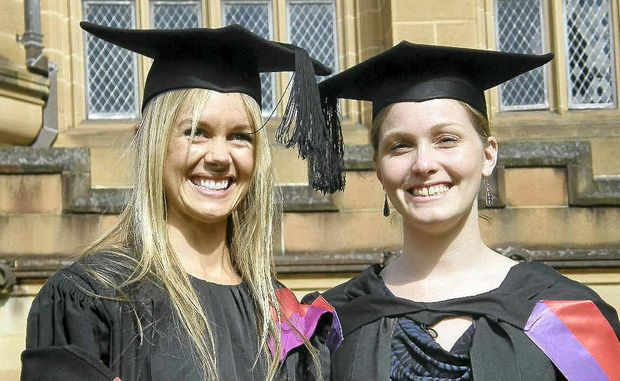 Kate Pritchard and Bec Abrahall celebrated on their graduation day the same way they studied – together.