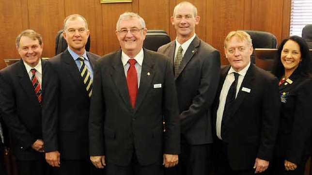 Cr Ian Petersen, Cr Rae Gate, Cr Wayne Sachs, Cr Tony Perrett, Mayor Ron Dyne, Cr Mick Curran, Cr Mark McDonald, Cr Julie Walker and Cr Larry Friske.