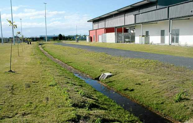 DRAIN ON RESOURCES: The rear of the Sports Complex shows the problems faced with water removal on the playing fields.