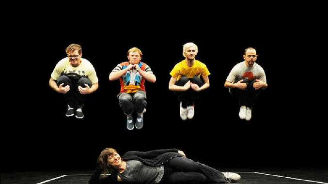Energetic performers (main picture, from left) Liam Christian, Josh Doykle, Benjamin Hancock and Anthony Hamilton with choreographer Lucy Guerin (sitting) at Lismore City Hall rehearsing for UNTRAINED.