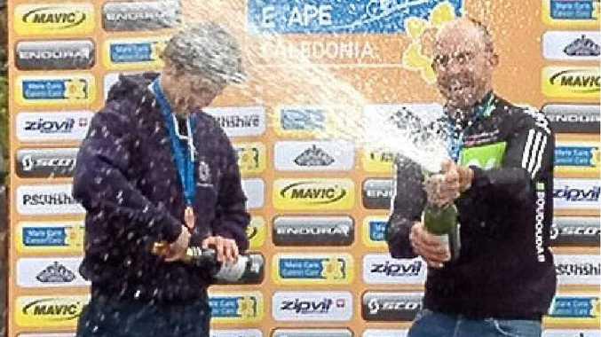David McIntosh celebrates his podium finish in Scotland after 130km bike ride.