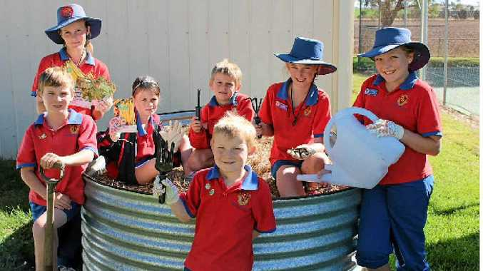 Receiving the Coles Junior Landcare Garden grant has Freestone State School students (back from left) Tom Ramsey, Hannah Briggs, Bethany, Christian and Jessica Mauch, Victoria Watson and (front) Jayden Taylor excited about their new school vegie garden.