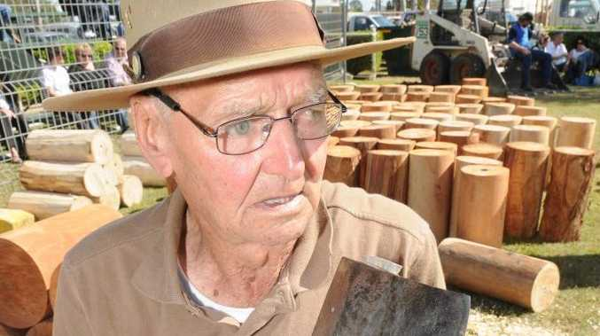 Vic Summers, 93, is back woodchopping after retiring at least five times.
