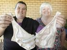 Lindi and Patricia Worthing with a bra that can be done up at the front with one hand.