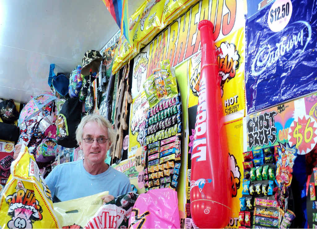 Jim Reglin with some of the many showbags on offer at the Gympie Show.