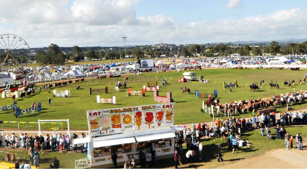 All the exhibitors line up for the official opening of the Gympie Show.