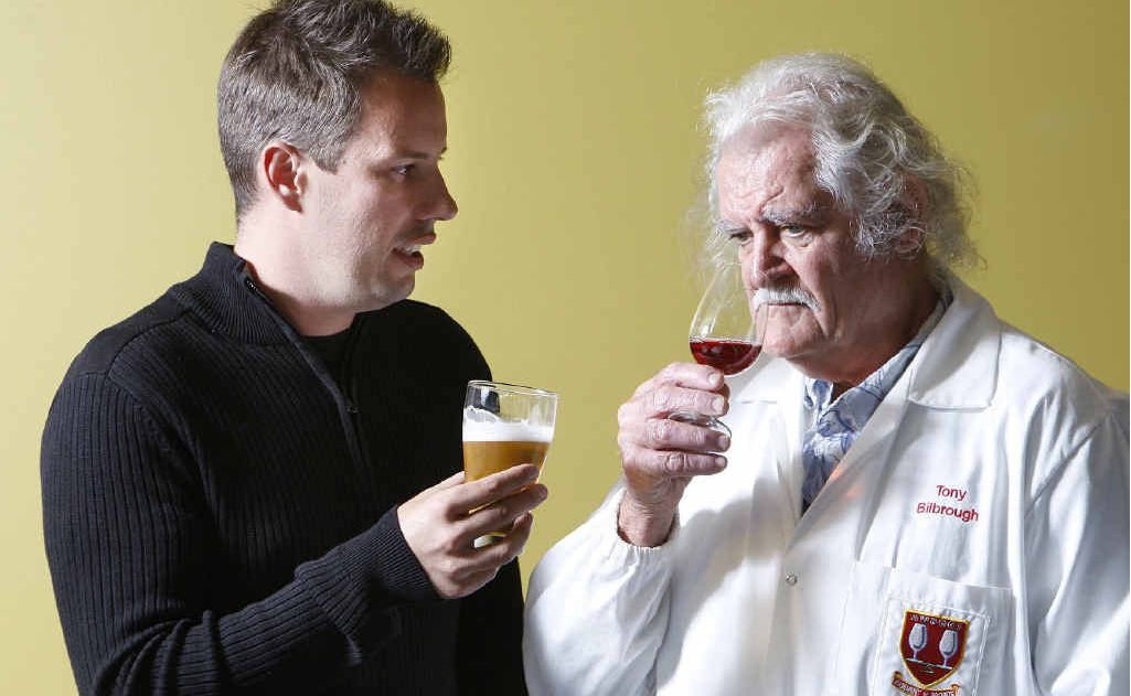 Judges for the Ipswich Show beer and wine competition Liam Ahearn and Tony Bilbrough at Yamanto Tavern.