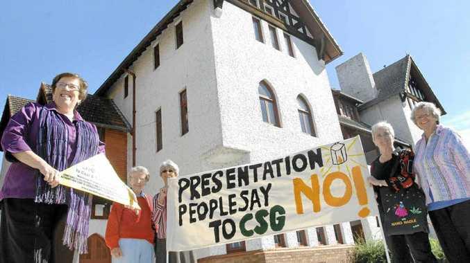 Presentation sisters Mary Bruggy, Betty McKerrow, Presentation associate Gene Trin, Anne Shay, and Patricia O'Brien, take a stand against CSG.