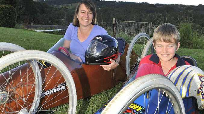 Louise Middleton and her son Jarrod (10) will be racing at the Bangalow Billy Cart Derby.