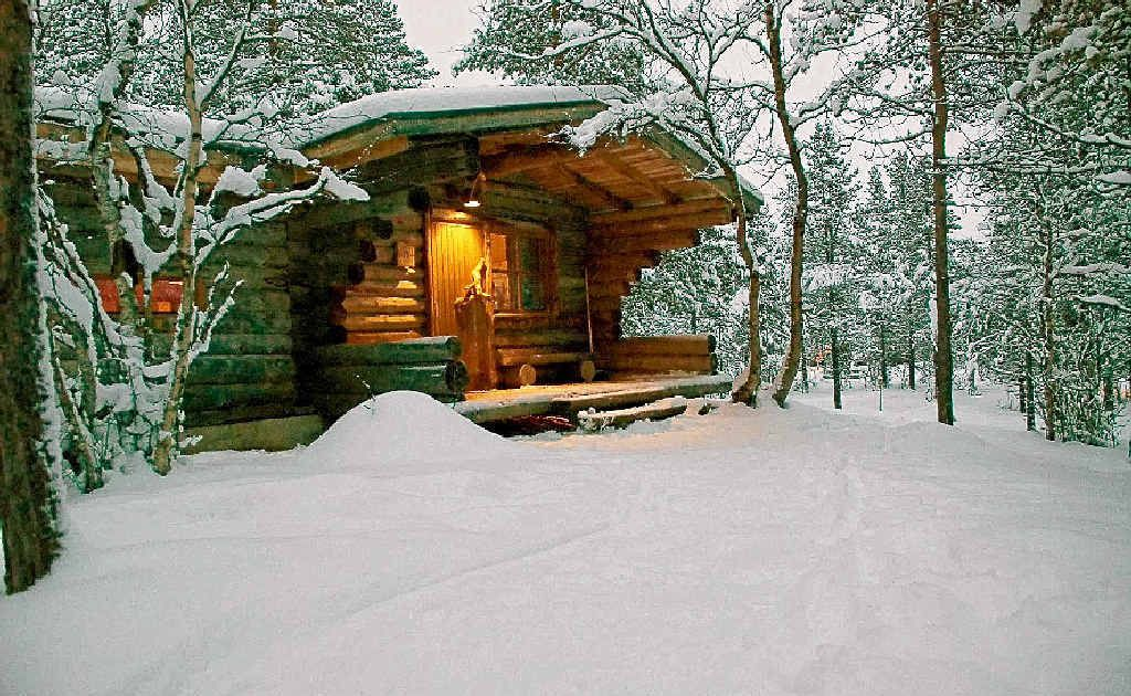 A log cabin at Hotel Kakslauttanen in Ivalo, Finland.