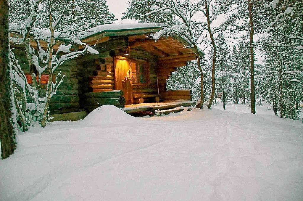 A log cabin at Hotel Kakslauttanen in Ivalo, Finland.