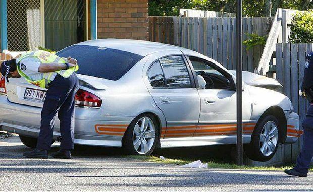 Police at the crash scene.