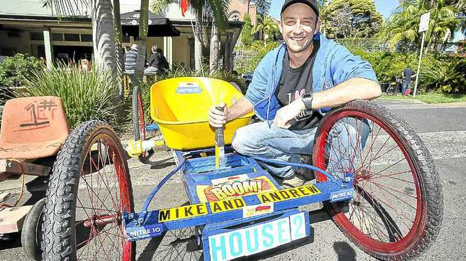 2012 Block contestant Andrew Jones taking part in this year's Bangalow Billycart Derby.