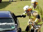 Hervey Bay firefighters dismantled a car at the Heritage Motoring Car Show in Pialba on Sunday.