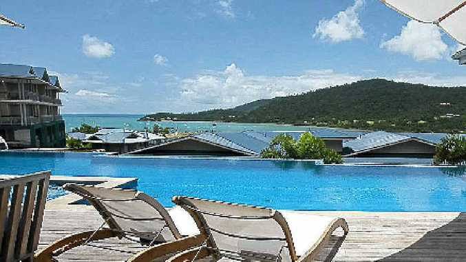 The wonderful view from the pool at Peppers Coral Coast Resort.