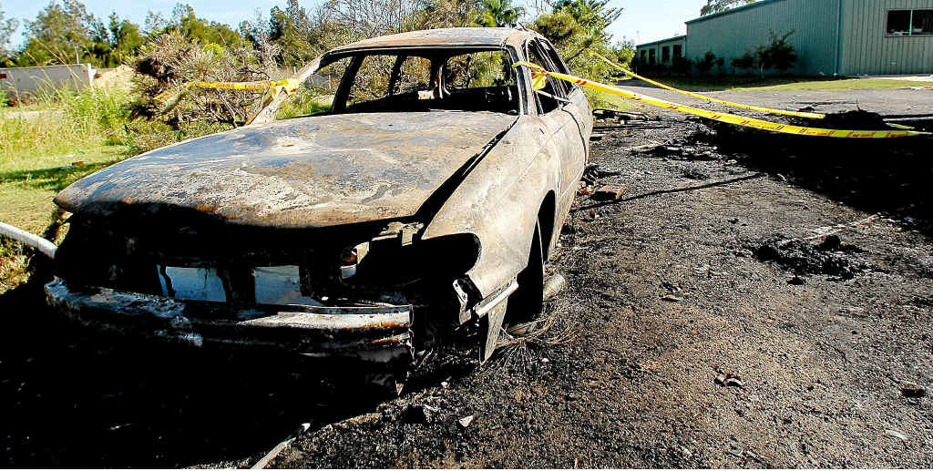 A Holden Commodore station wagon was one of two cars torched in Yamba on February 14, 2010.