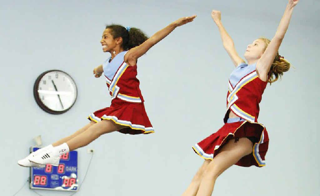 St Mary's College cheerleaders practise for the World Cup Cheer and Dance Brisbane regional competition.