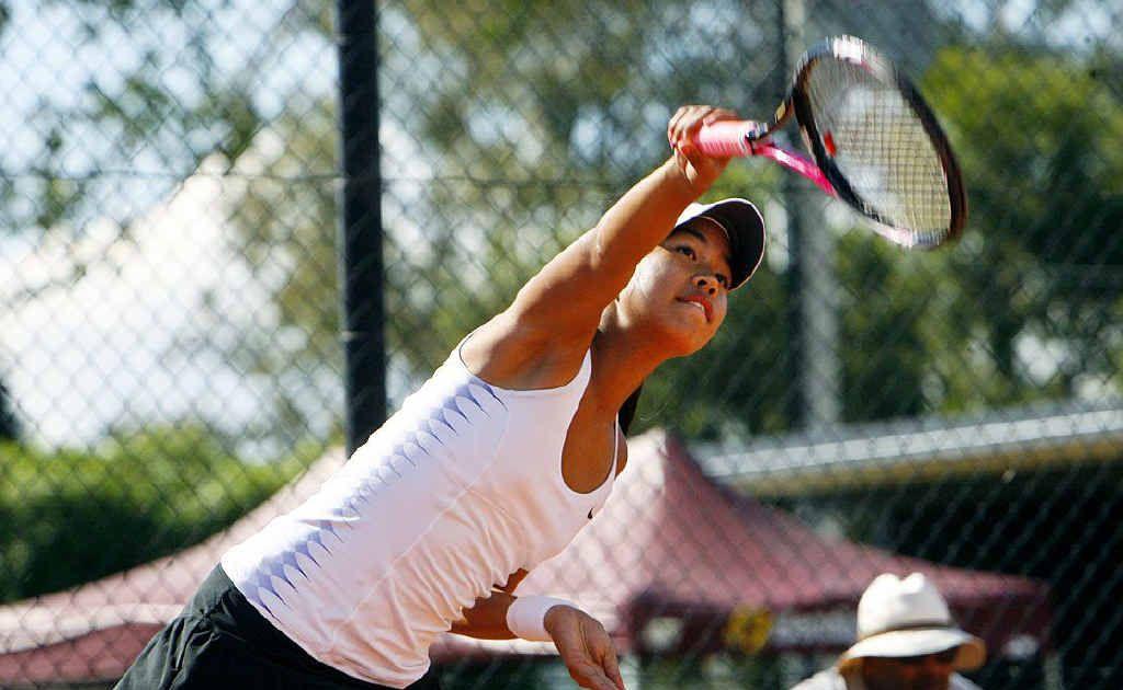 Ipswich Open women's singles winner Lizette Cabrera focuses on her technique during her title success at George Alder Tennis Centre last Sunday.