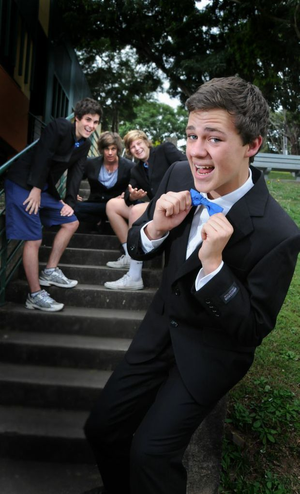 Aaron Bourke, Michael Drescher, Mitch Granshaw and Patrick Last getting ready for deb ball.