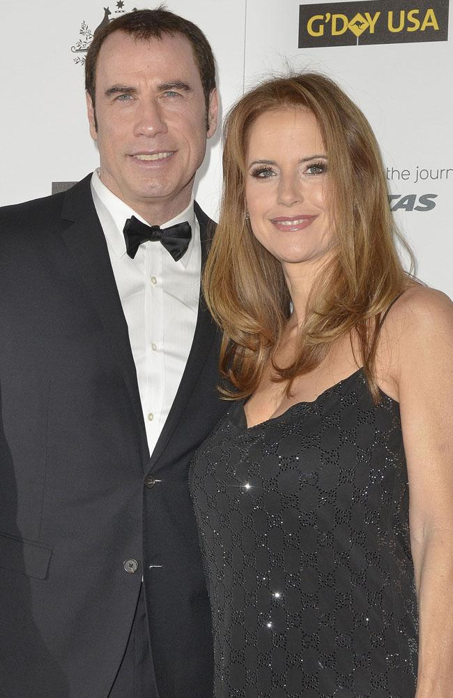John Travolta with wife Kelly Preston.