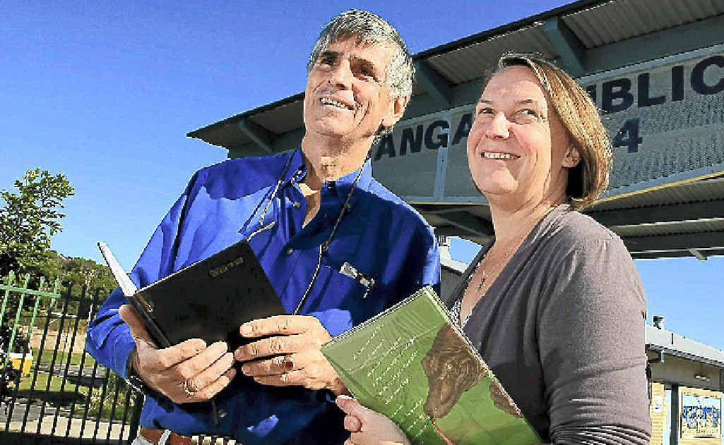 Derek Robertson with Bogangar assistant principal Cathy Llewellyn.