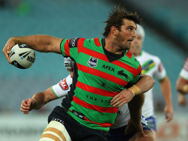 Dave Taylor of the Rabbitohs makes a break during the round 12 NRL match between the South Sydney Rabbitohs and the Canberra Raiders at ANZ Stadium.