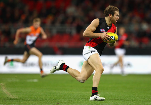 Stewart Crameri of the Bombers looks upfield during the round nine AFL match between the Greater Western Sydney Giants and the Essendon Bombers at Skoda Stadium.
