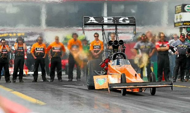 FEEL THE ROAR: Top Fuel champion Darren Morgan will be at Willowbank over the June long weekend.
