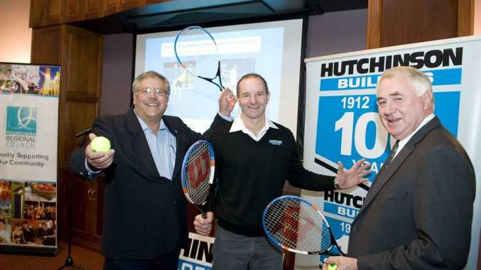 SERVING IT UP: Toowoomba Tennis Association president Allen Smythe, Hutchinson Builders area manager Robert Weymouth and Toowoomba Regional Council Mayor Paul Antonio at today's announcement.