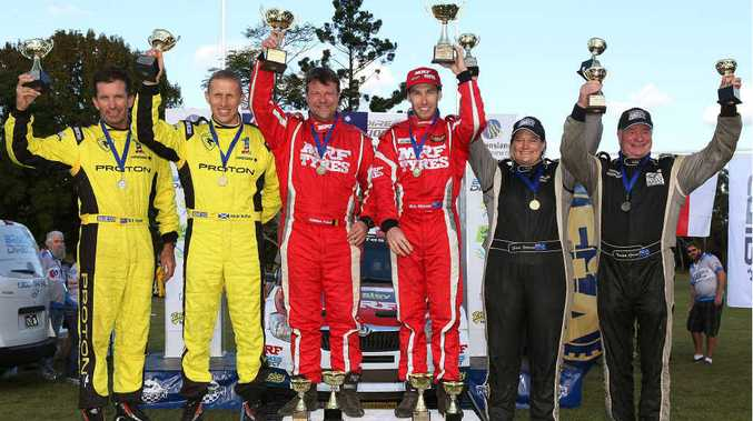 Pictured (from left) is the second-placed Proton team of Bill Hayes and Alister McRae, the first-placed Skoda team of Stefan Prevot and Chris Atkinson Proton and the third- placed Brian Green Motorsport team of Fleur Pedersen and Brian Green.