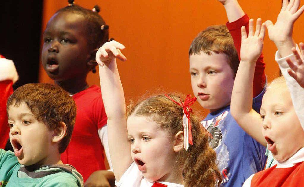 Brassall State School prep children participating in the speech choir for the Ipswich Junior Eisteddfod.