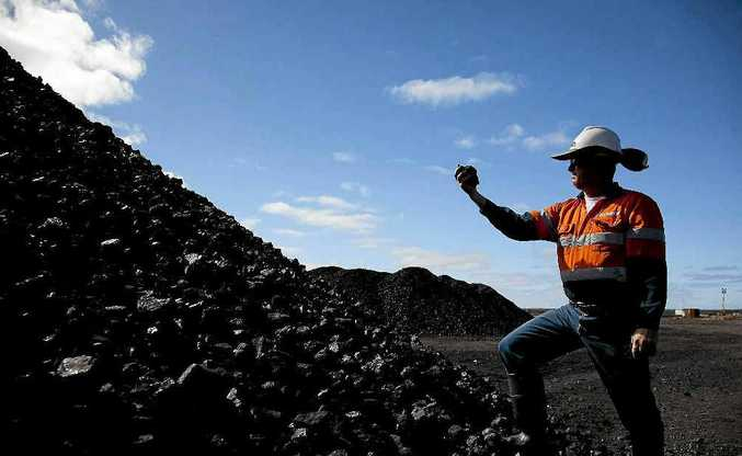 Inspecting coal from the Alpha Coal Project Test Pit where the new mine will be located.