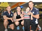 Trainers at Goodlife Gym Caloundra – Mike Debenham, Coby Williams and Ryan O'Neal are helping raise money to buy a wheelchair for Finley Coll.