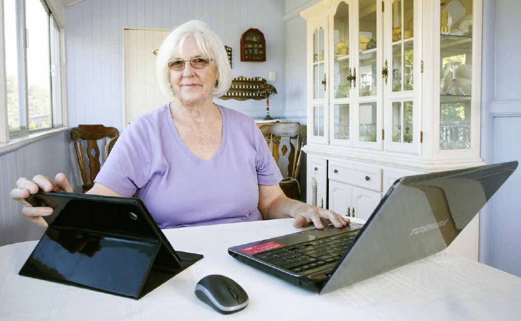 Linda Thomas of North Ipswich is a regular user of social media to keep in touch with her family around the world.