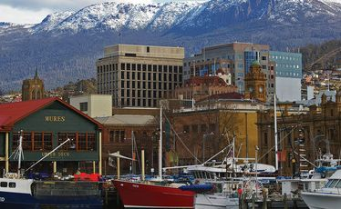 Hobart's waterfront, with Mt Wellington in the background.