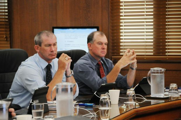 Mick Curran and Tony Perrett at the first council meeting.