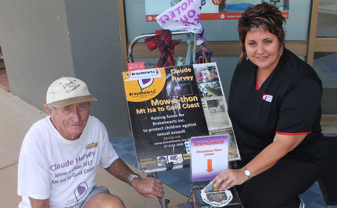 CLAUDE 'the Mower Man' Harvey passed through the Whitsundays this week on his incredible 2,260km 'mow-a-thon' to raise money for charity, Bravehearts.