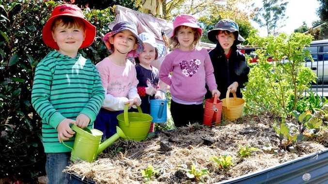 Tending to their vegetable garden are (from left) Finn O'Mara, Mia Duggan, Abbie Mills, Abigail Hyde and George Clifford.