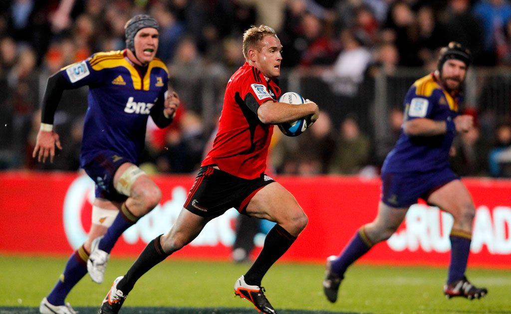 Andy Ellis of the Crusaders makes a break during the round 15 Super Rugby match between the Crusaders and the Highlanders