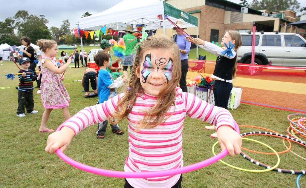 Elouise Bauer has some fun at the family fun day held at Limestone Park on Saturday.