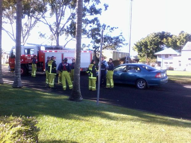 Emergency service workers at the scene of a fatal accident at Evans Head this morning