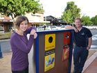 Lismore City Council waste and water education officer Danielle McAtee and waste operations coordinator Kevin Trustum with the new public place recycling bins now being installed around Lismore's CBD.