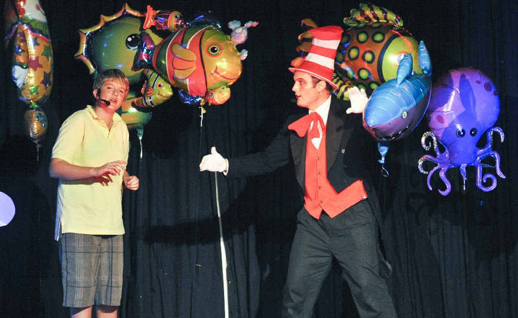 SEUSS ON STAGE: Connor Willmore and Matt Fisher sing It's Possible in the musical Seussical, performed by the Clarence Coast Theatrical Society. Photo: Adam Hourigan